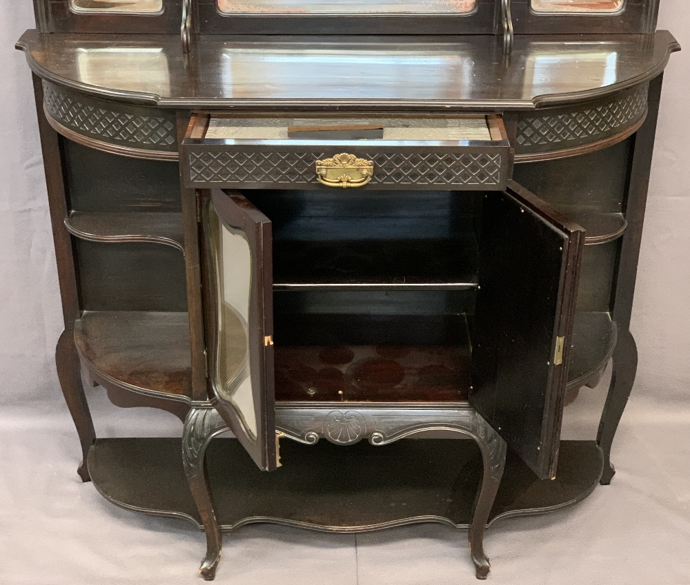 VICTORIAN MIRROR BACKED SIDE CABINET - ebonised on cabriole supports, the mirrors bevel glass, 2. - Image 2 of 3