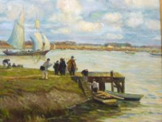 BRETON SCHOOL oil on canvas - figures about to board a boat, 50 x 60cms