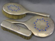 LIBERTY & CO SILVER & ENAMEL THREE PIECE DRESSING TABLE SET - hand mirror and two brushes,