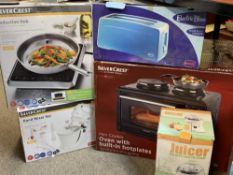 HOUSEHOLD ELECTRICALS, BOXED & APPARENTLY UNUSED - a Silver Crest oven with built-in hot plates,