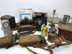 MIXED COLLECTABLES GROUP - vintage cameras by Ensign and others, one marked 'Butchers Reflect