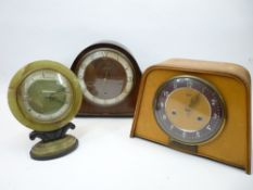 ART DECO & OTHER MANTEL CLOCKS (3) - Smiths wooden cased examples (2) and an Onyx and Bakelite