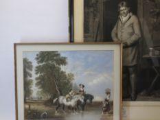 WILLIAM WARD mezzotint - shooting interest, Stephen Hemsted Esquire of Ilsley, Berks, 1814,