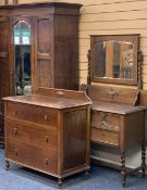 VINTAGE OAK HARLEQUIN BEDROOM SUITE, 3 PIECES - a single mirrored door wardrobe with lower drawer on