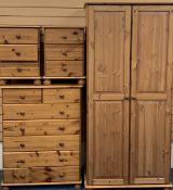 PINE BEDROOM SUITE - Wardrobe, 185cms H, 89cms W, 58cms D, 7 drawer chest, 106cms H, 82cms W,