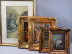 J HARPER watercolour study - a Church Tower near a bridge and four gilt framed still life studies of