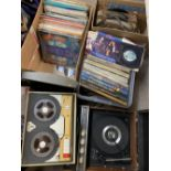 HMV RECORD PLAYER, ROBUK REEL TO REEL RECORDER and three mixed boxes of LP and gramophone records