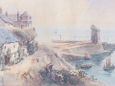 ALFRED LEYMAN watercolour - Devon Coastal Town, 26 x 44.5cms