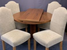 ROSENGAARDEN CIRCULAR TEAK EXTENDING DINING TABLE with two additional leaves and four modern