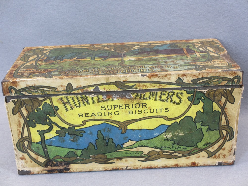 EP & OTHER CUTLERY - in a rare paper covered Huntley & Palmer's Tea Rusks tin, Art Nouveau style - Image 2 of 7