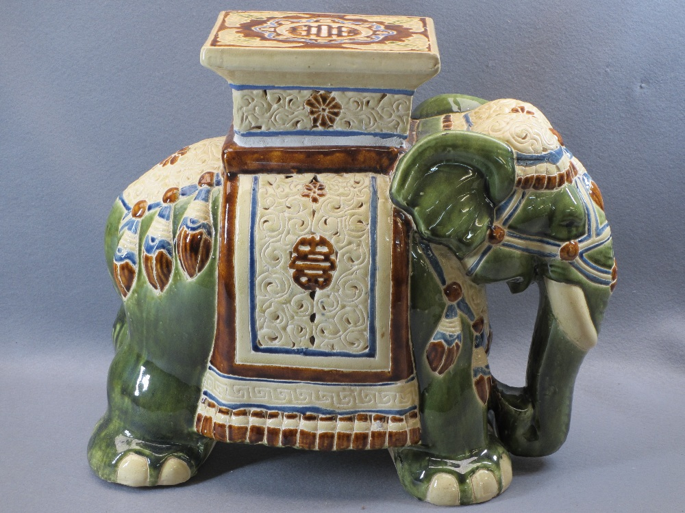CHINESE POTTERY ELEPHANT GARDEN SEAT - 43.5cms H, 46cms L - Image 3 of 5