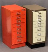 BISLEY METAL EIGHT DRAWER DOCUMENT CABINETS (2) - one red, one cream and brown, 67.5cm heights, 28cm