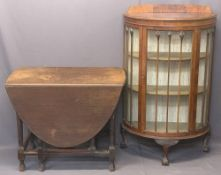 WALNUT CHINA DISPLAY CABINET and an oak gateleg dining table, the cabinet half-moon with central