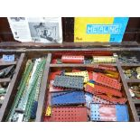 VINTAGE & LATER MECCANO & A BOXED NO 8 LEGO SET - the bulk contained in a lidded wooden box, 14.5cms