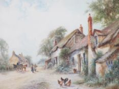 J HUGHES CLAYTON watercolour - hamlet type scene with thatched cottage, horse and cart with people