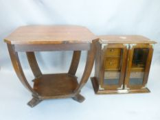 VINTAGE OAK METAL MOUNTED TWO-DOOR SMOKERS CABINET and a small Art Deco style side table, 38 and