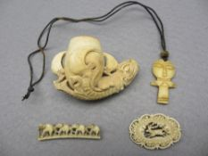 CARVED BONE JEWELLERY & A MEERSCHAUM PIPE BOWL to include a Dieppe type brooch of reticulated form