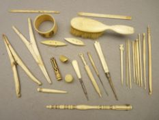 CARVED & SHAPED BONE IMPLEMENTS, A QUANTITY - a parasol form bodkin case, shuttle type winders,