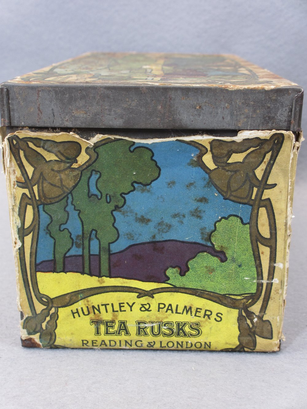 EP & OTHER CUTLERY - in a rare paper covered Huntley & Palmer's Tea Rusks tin, Art Nouveau style - Image 5 of 7