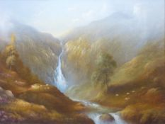 RAYMOND GILRONAN oils on canvas (3) typical mountainous scenes in Wales with scattered sheep, one