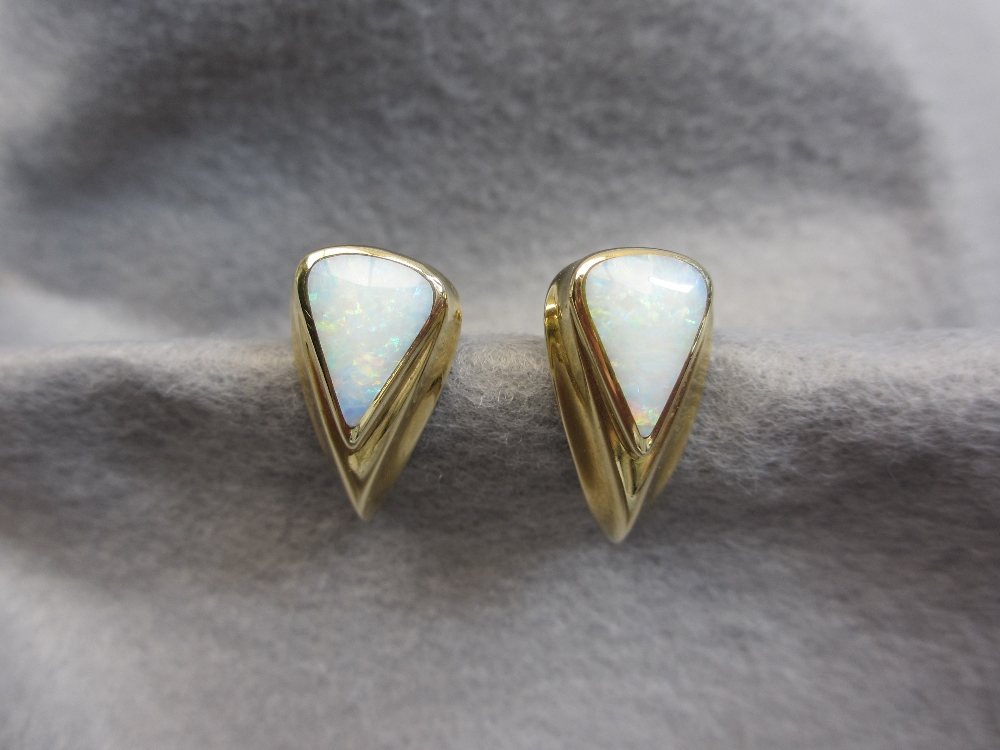 9CT GOLD OPAL SET EARRINGS, A PAIR and a circa 1920 stained ivory elephant pendant with 14ct gold - Image 2 of 3