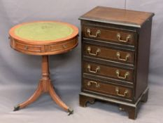 REPRODUCTION MAHOGANY FURNITURE, 2 ITEMS - a line inlaid four drawer chest on corner bracket feet,