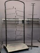 MUSIC SHOP FITTINGS - two instrument display racks and a metal stand, 151cms H, 123cms W, 193cms