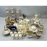 EPNS WARE, TWO BOXES including an Art Deco style three piece and a later four piece tea service