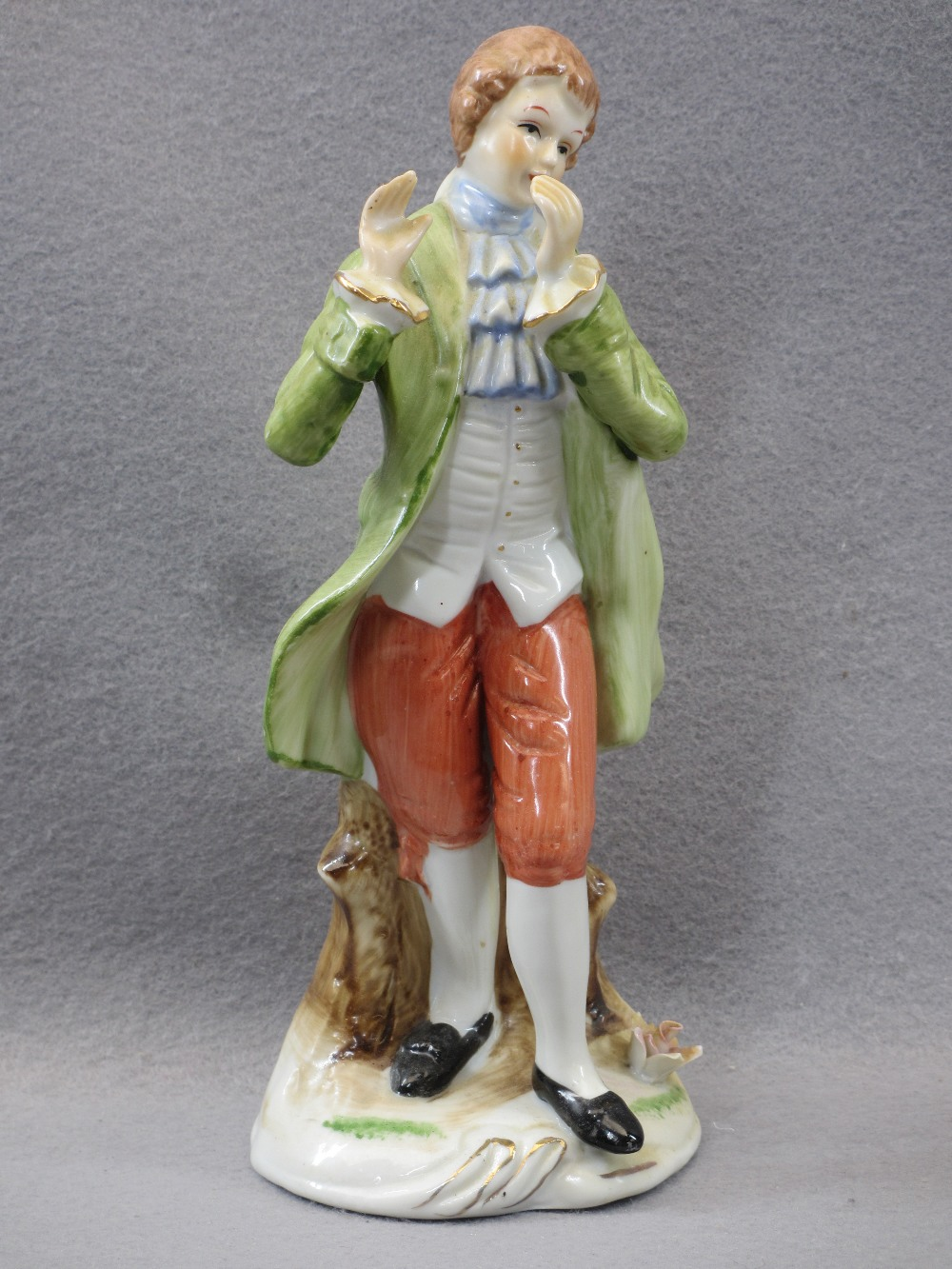PORCELAIN & COMPOSITION CABINET FIGURINES, A COLLECTION including a Sitzendorf group of young man - Image 2 of 7