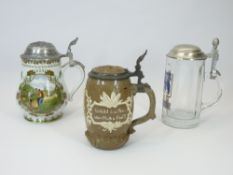 POTTERY, PORCELAIN & GLASS COLLECTORS STEINS (3) - a rare Villeroy & Boch Mettlach beer tankard with