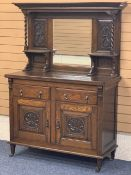 VINTAGE OAK MIRROR BACK SIDEBOARD - barley twist upper supports and carved detail to the panels over