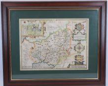 JOHN SPEEDE map - 'Caermarden, Both Shyre & Towne' described, AD 1610, hand coloured with visible