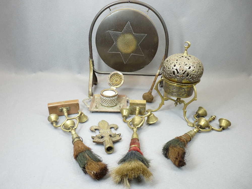 SHIRE HORSE TRIPLE BELL SWINGERS WITH PLUMES, vintage dinner gong, brass and other Persian style