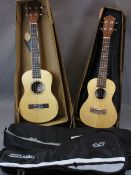 MUSIC SHOP STOCK - ukuleles (2) including a Taiga Coral Concert model T-32 with zip-up canvas