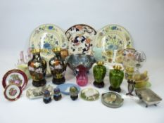MIXED CABINET & DECORATIVE HOUSEHOLD ITEMS - Carnival, Cranberry and other glassware, Japanese