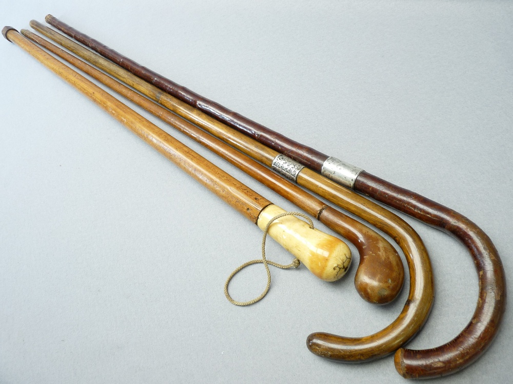 ANTIQUE & LATER WALKING STICKS & CANES (4) including a Malacca example with possibly walrus ivory - Image 2 of 3