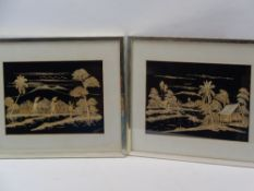 BAMBOO PICTURES, A PAIR - depicting workers in Paddy Fields, 24 x 33.5cms, INDIAN WHITE METAL