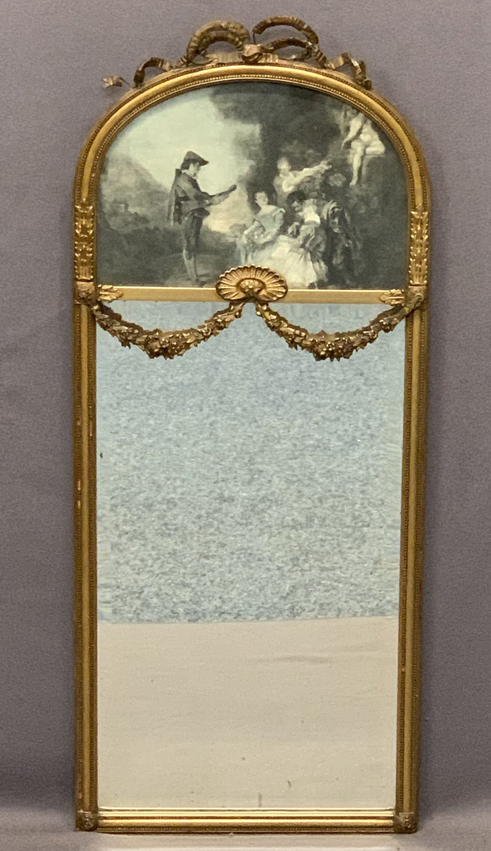 VINTAGE PIER TYPE MIRROR - the curved top with inset classical scene print, applied crest ribbon and