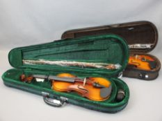 *MUSIC SHOP STOCK - Modern violins with bows in fitted cases (2) including an Antoni 3/4 size and