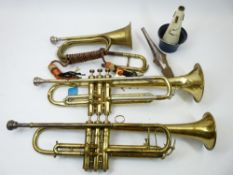 VINTAGE WIND MUSICAL INSTRUMENTS - two brass and nickel trumpets, 51.5 and 55cm lengths, bugle 30cms