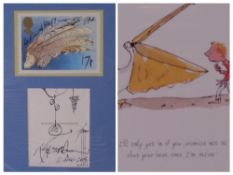 RALPH STEADMAN cartoon sketch and signature on Post Office picture card and one other, both