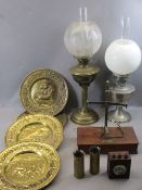 VINTAGE OIL LAMPS & OTHER COLLECTABLES - a small set of beam scales, vintage galvanometer,