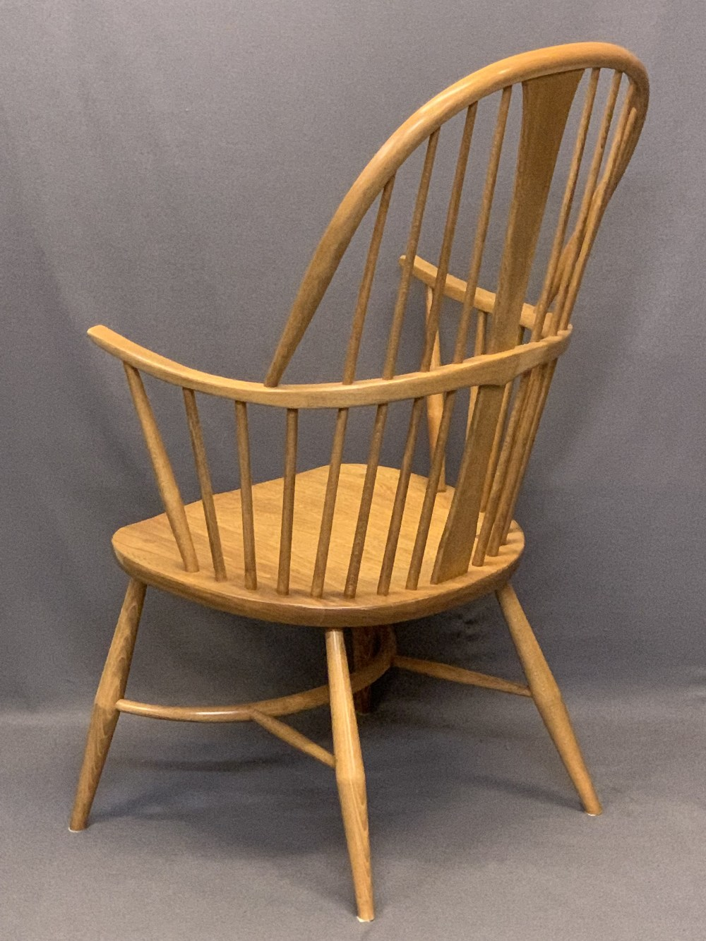 LIGHT ERCOL WINDSOR STYLE ARMCHAIR - with hoop back, crinoline type stretcher and removable - Image 3 of 5