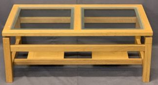 OAK COFFEE TABLE with two piece glass top