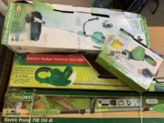 GARDEN ELECTRICALS & A BOXED PETROL GRASS TRIMMER - boxed and apparently unused conditions to