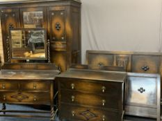 VINTAGE OAK FOUR PIECE BEDROOM SUITE - consisting of a two door wardrobe with central mirrored