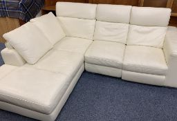 CREAM LEATHER EFFECT LOUNGE CORNER SETTEE - two sections, 94cms H, 205cms W, 100cms D and 94cms H,