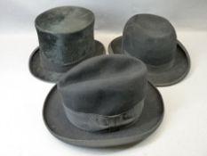 DUNN & CO TOP HAT & TRILBY with a further Trilby marked 'The Tiviot Brand'