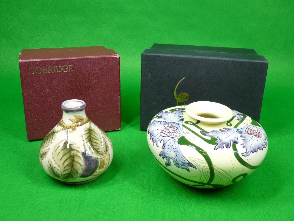 COBRIDGE & BLACK RYDEN VASES (2) - to include a 9cms H squat vase (plum) on a mushroom ground - Image 6 of 6