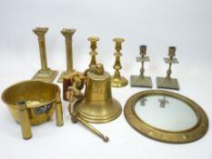 VINTAGE & MODERN BRASSWARE COLLECTION - three pairs of candlesticks, modern brass bell stamped '